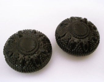 FINAL SALE - 20mm Vintage Ornate Etched Black Puff Coin acrylic beads - 4pcs
