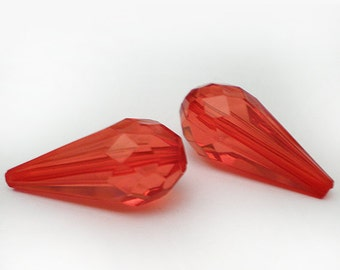 FINAL SALE - Faceted Red acrylic long teardrop - 6pcs