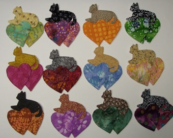 Cat and Hearts Appliques for Quilts Etc. Set of 12  Style 3 Lot 301
