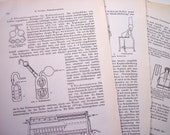 Vintage Paper Ephemera Craft Pack 15 Pages From 1930s German Chemistry Book Science Geekery Mixed Media Supplies Scrapbooking