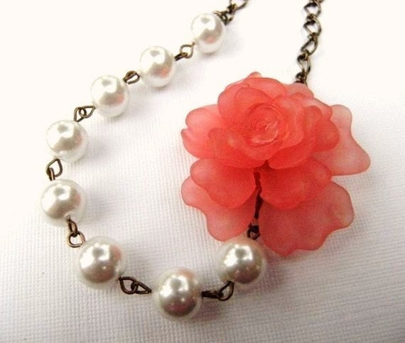 Necklace Vintage Style Coral Peony and Pearl