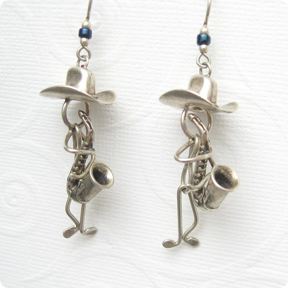 Sterling Earrings Cowboy Sax Player Unusual E4805