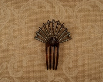 Vintage Faux Tortoise Shell Comb with Rhinestones