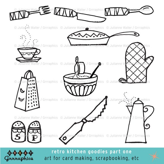 Kitchen Clip Art Black and White
