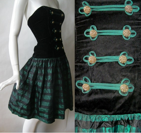 Strapless velvet and shimmery beetle green and black striped party dress, with military style detailing, 1980's / early 90's, extra small