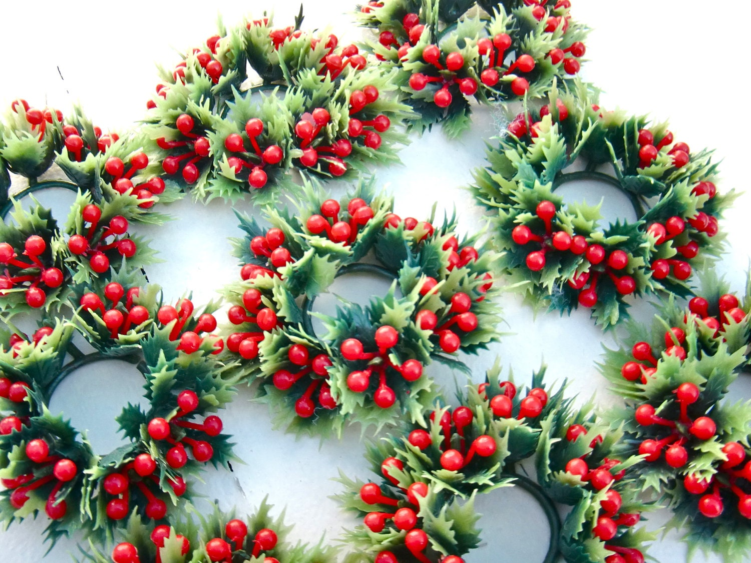 Retro Plastic Holiday Taper Candle Rings Kitschy Plastic