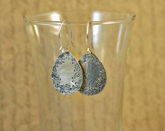 Sterling Silver Hammered Teardrop Earrings with Daisy Edge Texture