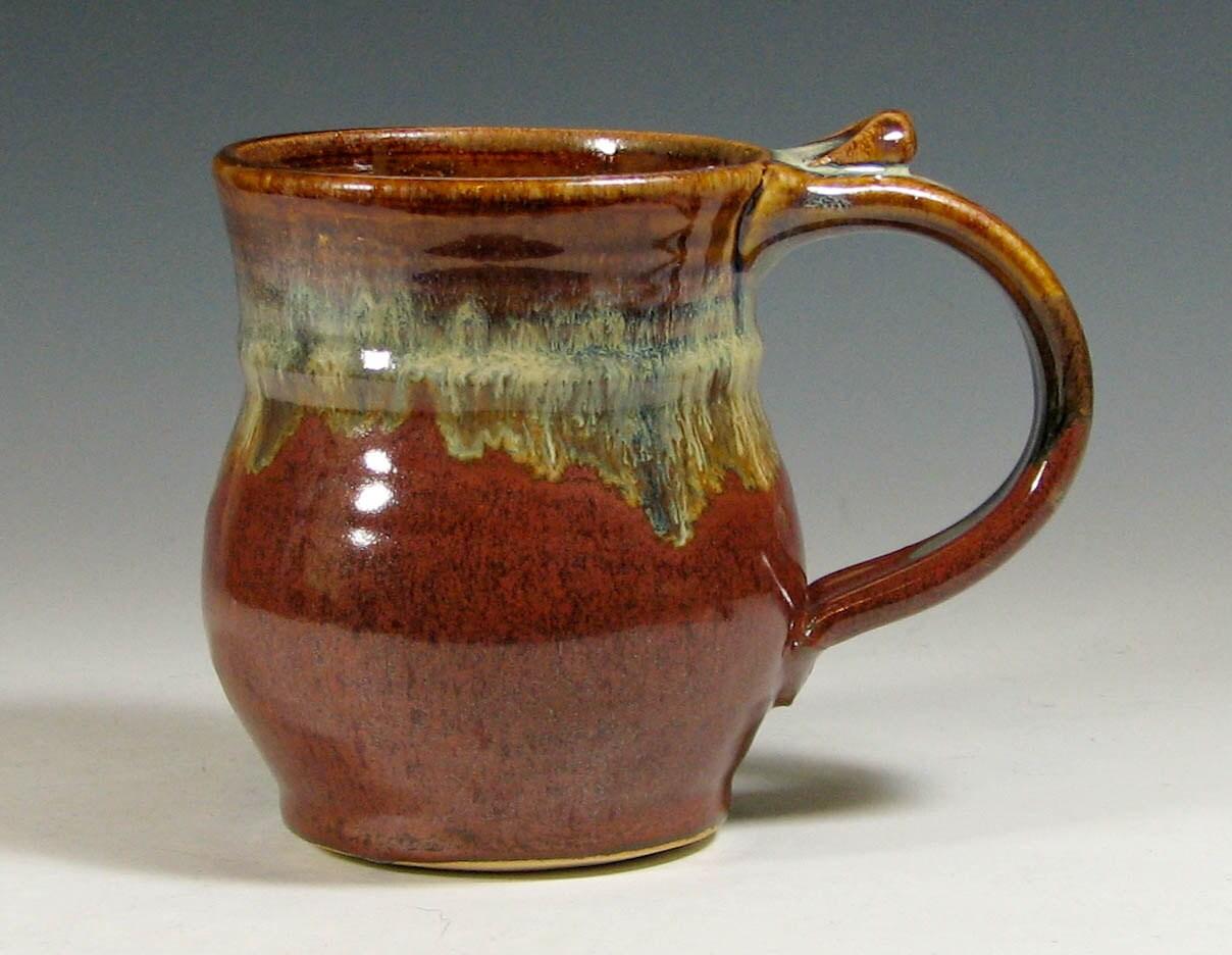 Coffee Mug Hand Made Tea Cup Pottery Glazed In Brick Red