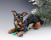 Beauceron Black and Tan Christmas Ornament Figurine Porcelain