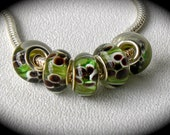 European Charm Beads Fern Gully Silver Core Lampwork Glass Bead