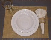 Simple Burlap Placemat - Set of 6 - Available in 54 colors