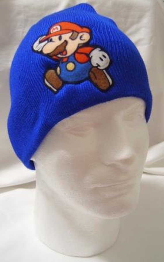 Royal Blue Hat Mario Beanie Skullcap - made with vintage up-cycled Mario fabric