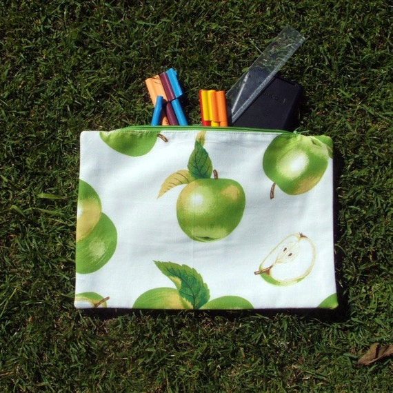 Pencil case or zipped pouch green apples on white cotton lined large