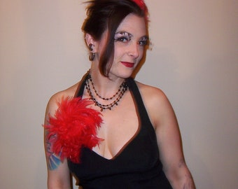 Custom Made Red Hackle Feather Fascinator Headpiece by Taissa Lada Designs,Red Hackle Feathers,Red Fascinator, Bridal Fascinator, Burlesque