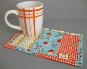 Mug Rug with modern fabrics - modern gift for tea or coffee drinkers teacher gift - gift under 20
