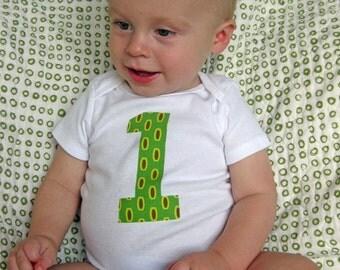 1 Onesie - Birthday Bodysuit - Baby Boy Onesie - Green Mod Beads by Heather Bailey