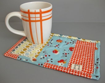 Mug Rug with modern fabrics - modern gift for tea or coffee drinkers teacher gift - gift under 20
