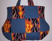 Flaming Hot Fire Denim Purse Handbag