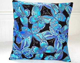 blue butterflies decorative pillow cover, teal black and gold cushion cover 18 inch