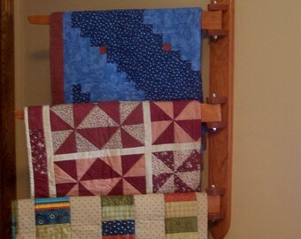 Wall Hanging Quilt Rack Handcrafted from Cherry Hardwood