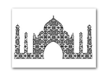 Damask Taj Mahal in Black - Fine art print, silhouette, monument, Agra, India