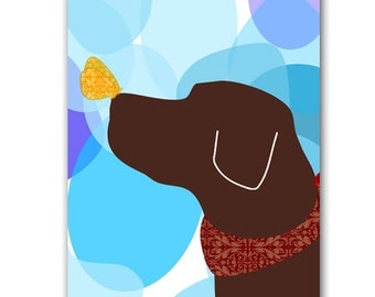Brown Labrador Retriever Dog Art - wall decor, illustration, pet, animal, silhouette, brown lab