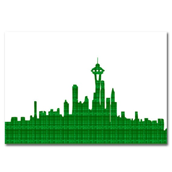 Seattle Skyline Outline Drawing Seattle Skyline in Green Fine