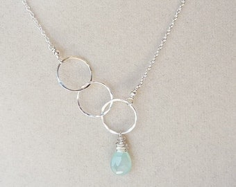 Asymmetrical Dainty Circle Blue Green Chalcedony Necklace in Sterling Silver Made to Order