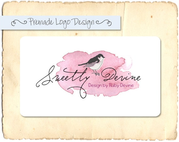 Pre-made Logo or Watermark  Design - Sweetly Devine - Customised to your shop name