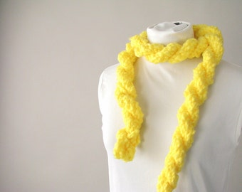 Handmade Neon Spring Skinny Rope Scarf - Sunny Yellow Twisted Scarf
