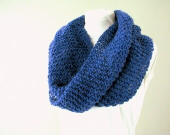 Hand Knit Royal Blue Mohair Moebius Cowl Scarf or Shawl for Adult Female