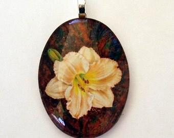 Daylily Jewelry Pendant Light Peach Hemerocallis Oval Art Glass