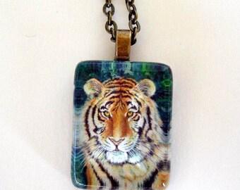 Tiger Cat Jewelry Pendant Necklace Antique Brass Setting School Team Mascot