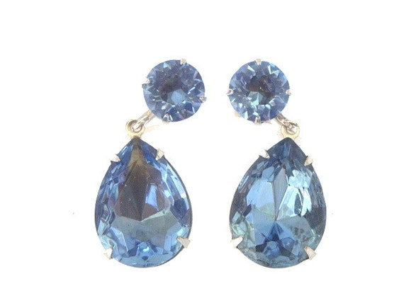 Vintage Coro Sapphire Earrings Designer Pear Dangle 1930s Vintage Jewelry