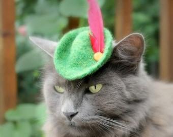 Cat (Dog) Robin Hood Hat - Peter Pan Hat - Hand Felted Wool Hat - Cat Halloween Costume - Pet Halloween Costume - Cat Photo Prop