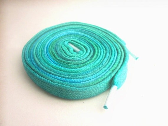 Hand Dyed Shoelaces (54 inch length) Tidal Pool