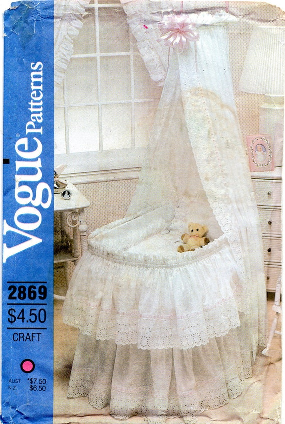 Vogue 2869 1980s Baby Accessories For Bassinet Pattern By