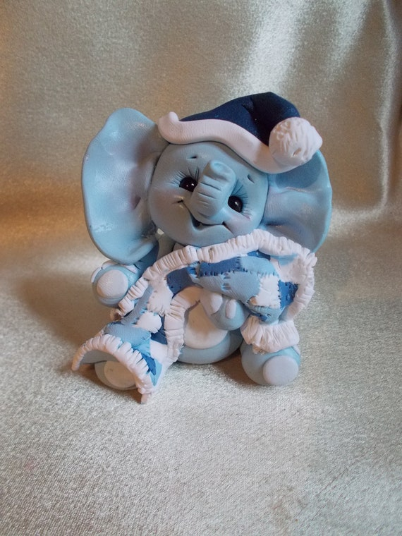 baby shower cake topper elephant christmas ornament blue polymer clay