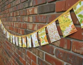 Fabric Banner Yellow Orange Green 9 ft Vintage Cloth Bunting