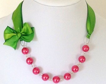 Silk Ribbon Necklace in Kelly Apple Green - Pink Bridesmaid Necklace - Wedding Necklace - Bridal Jewelry - Flower Girl Necklace