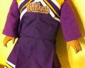 Custom made cheerleading outfit purple gold  and white