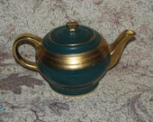 Vtg 4 Cup Sadler of England Teapot Emerald Green with Gold Gilt Trim