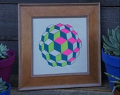 Geometric Two Toned Neon Orb- Framed Original Painting