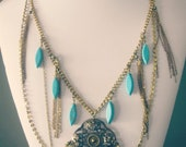 BOHEMIAN LUXE wire wrapped turquoise and chain necklace