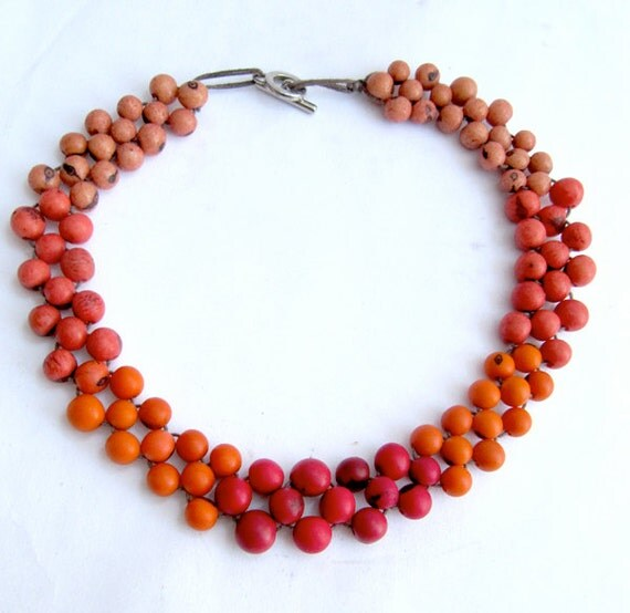 Ombre choker, Acai Necklace, Beaded Choker, ecofriendly beadwork