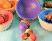 Waldorf Toy - Sorting Big Acorns,  Kids Wooden Toy / Educational Toy - Montessori Toy