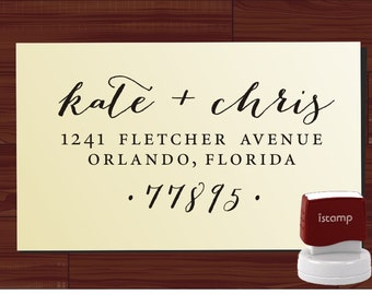 Custom Return Address Stamp Self Inking - Calligraphy Address Stamp - Personalized Wedding Address Stamp -  (1280J)