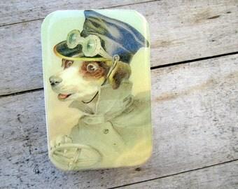 Victorian Dog driving tin, case, gift tin