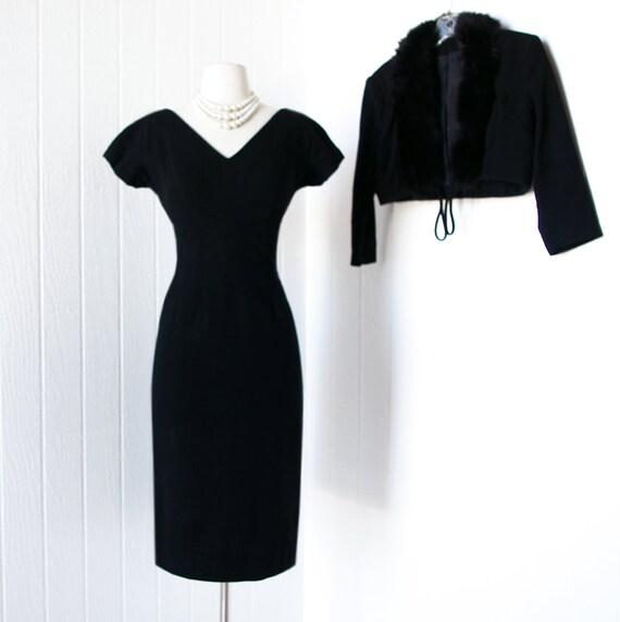 on HOLD vintage 1950's dress ...fabulous MISS JANE black wool wiggle pin-up dress and bolero jacket