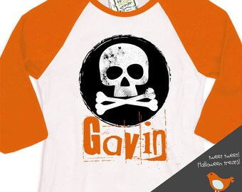 personalized halloween shirt - skull and cross bones grunge raglan shirt